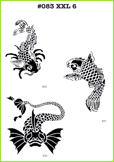 3 XL Airbrush Tattoo Schablonen MYLAR 083