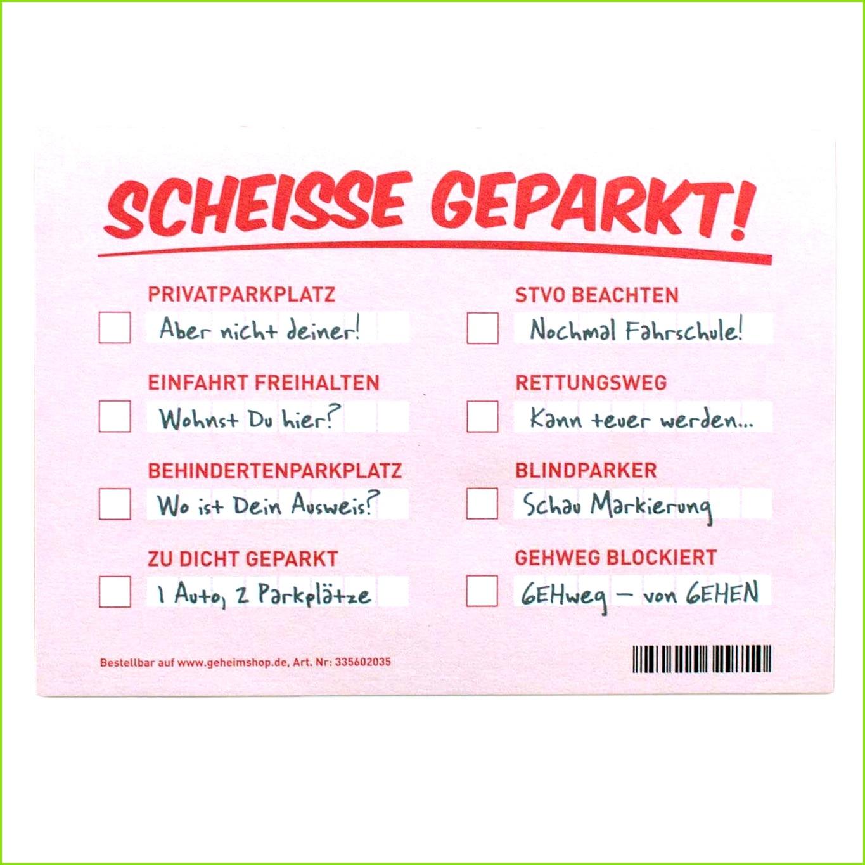 Falschparker Zettel Vorlage Erstaunlich Scheiße Geparkt Notizzettel Zur Falschparker Verwarnung