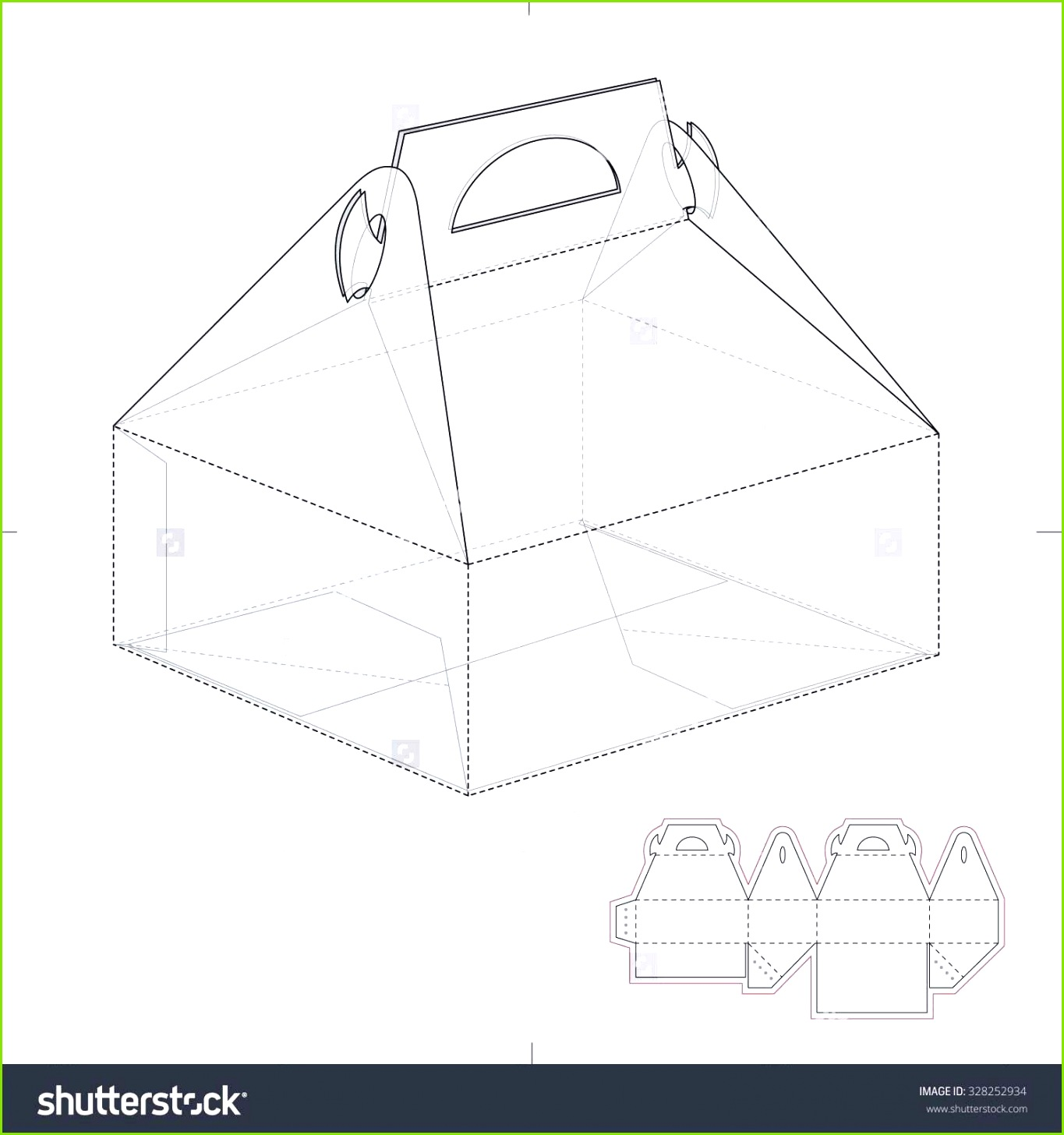Cake Carrier Box With Die Line Template Ilustraci³n vectorial en stock Shutterstock