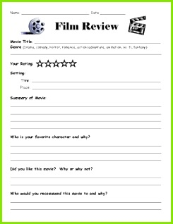 A simple film review sheet to ac pany any movie watching experience