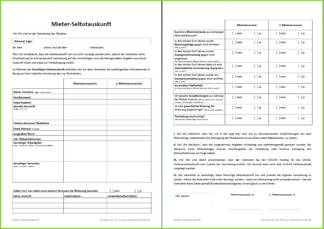 Freiwillige Mietbürgschaft Vorlage Schön Selbstauskunft Des Mieters Mieterselbstauskunft