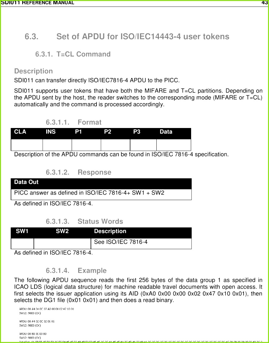 Page 43 of SDI011 1000 Smart Card Reader User Manual Reference manual template Identiv
