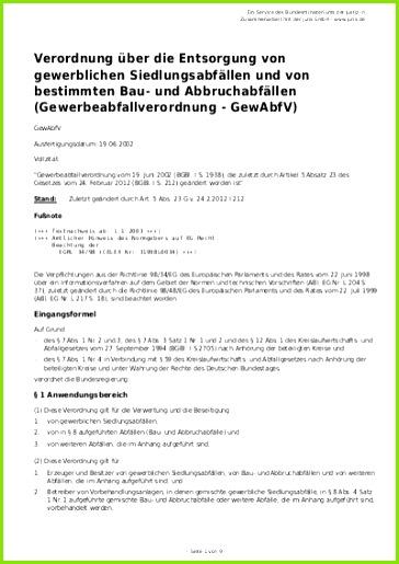 Verordnung ƒ¼ber Entsorgung Von Gewerblichen Agvu Frisch Gewerbeabfallverordnung Dokumentation Vorlage