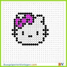 Hello Kitty Portrait klein Bügelperlen Vorlage Auf buegelperlenvorlagen kannst du eine große Auswahl