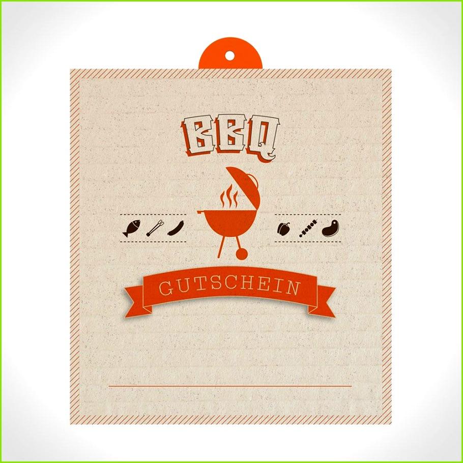 BBQ Gutschein Muster Vorlage im Pappe Look