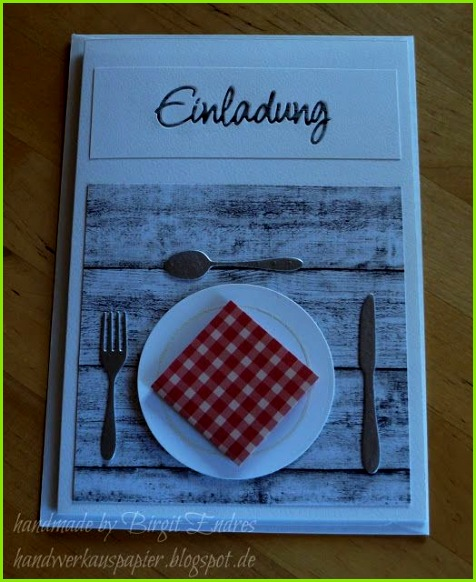 HandWerk aus Papier Einladung zum Essen