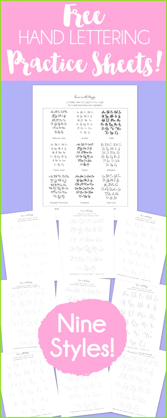 Free Hand Lettering Practice Sheets 9 Styles Download all 9 styles and your lettering practice on Includes pen re mendations for each style