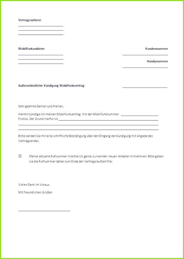 Großzügig Einzahlungsbeleg Vorlage Frei Bilder Beispiel Neues 35 Mobilfunk Kündigung Vorlage – Kündigung Vodafone Vertrag Muster