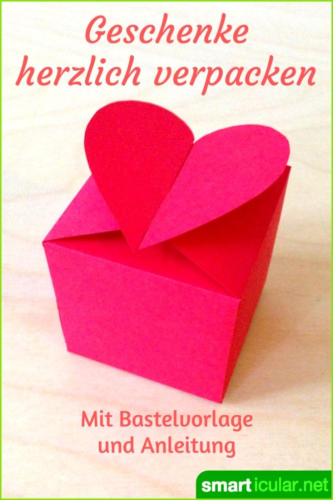 Eine schöne Verpackung wertet jedes Geschenk auf Mit ser Vorlage bastelst du in wenigen Minuten eine romantische Herzschachtel