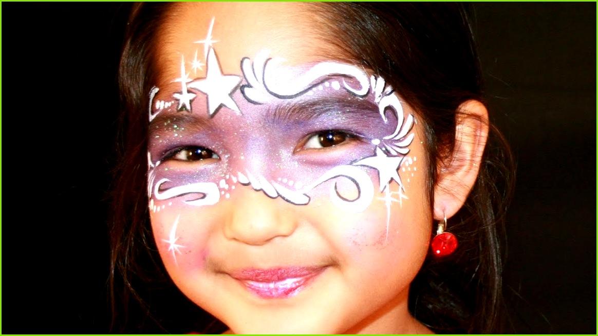 Fee schminken Lila Fee Kinderschminken Vorlage & Anleitung mit Glitzer