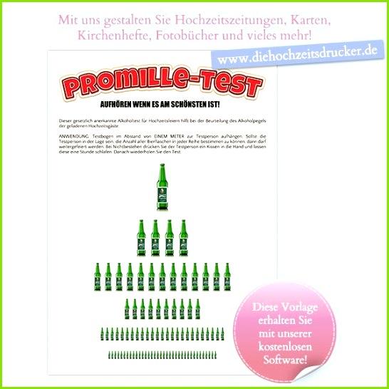 """Der """"Promille Test"""" humorvolle Vorlage für Gestaltung einer Hochzeitszeitung oder Geburtstagszeitung"""