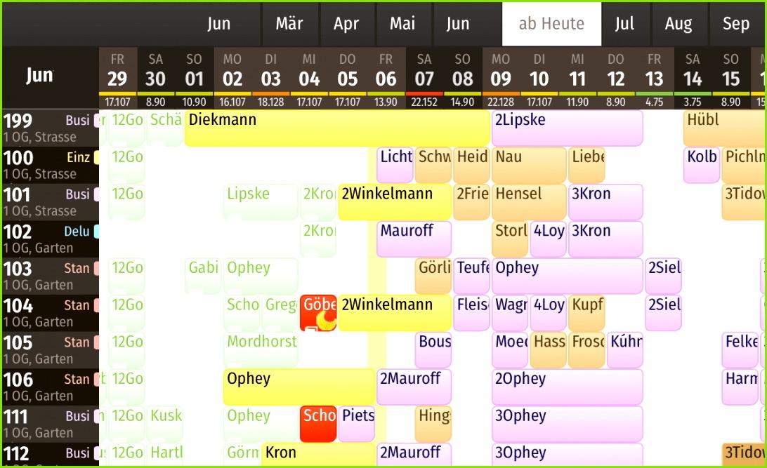 igumbi webbasierte Hotelsoftware der Hotel Belegungsplan für übersicht der Zuteilungen der Reservierungen zu den