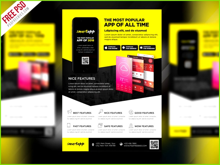 Free PSD Mobile App Promotion Flyer Template PSD