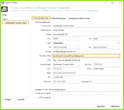 JTL Wawi Zahlungen PayPal Zahlungsaufforderung senden Firmeneinstellunge E Mail