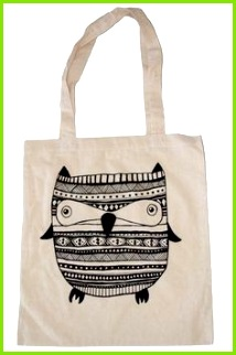 Jutebeutel Baumwoll Tasche Jute Tasche Eule Aztec ein Designerstück von annisfabrik bei DaWanda