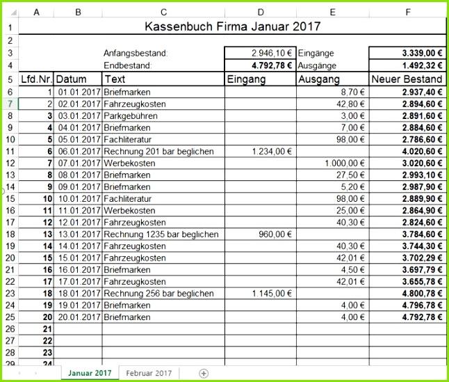 Excel Vorlage Kassenbuch Alle Meine Vorlagen