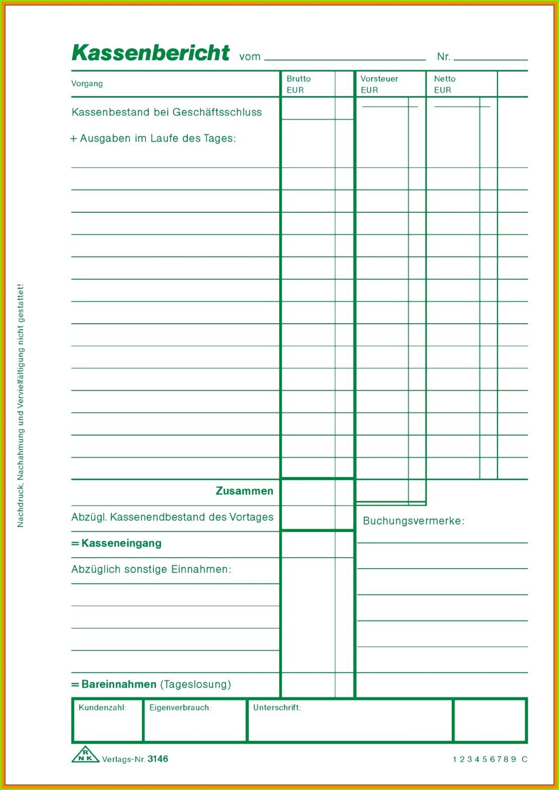 Kassenbuch Vorlage Zum Ausdrucken Pdf Erstaunlich 10 Kassenbericht