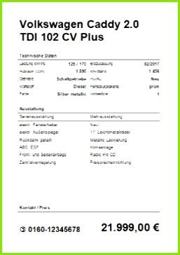 KFZ Verkaufsschild Hochformat Word als DOC Datei