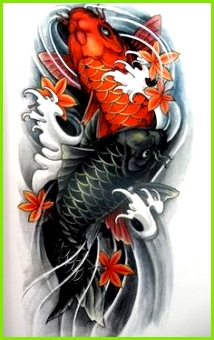 Two Koi Fish Need red symbolizes being a mother and having strength Black for over ing difficulties
