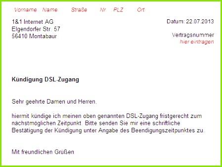 1&1 DSL Kündigung Vorlage
