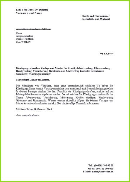 Kündigung Fitnessstudio Vorlage Pdf Genial Arbeitsvertrag Vorlage Kostenlos Word