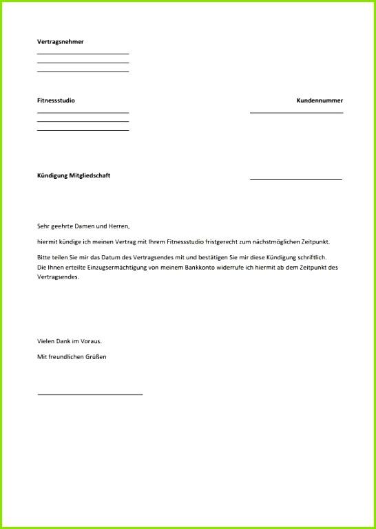 pdf Kundigung Muster Fitness vorlage kndigung wohnung schne kndigung fitnessstudio vorlage