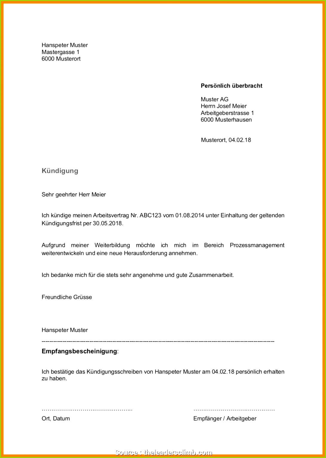 Neueste Fristlose Kündigungsschreiben Arbeitgeber Vorlage