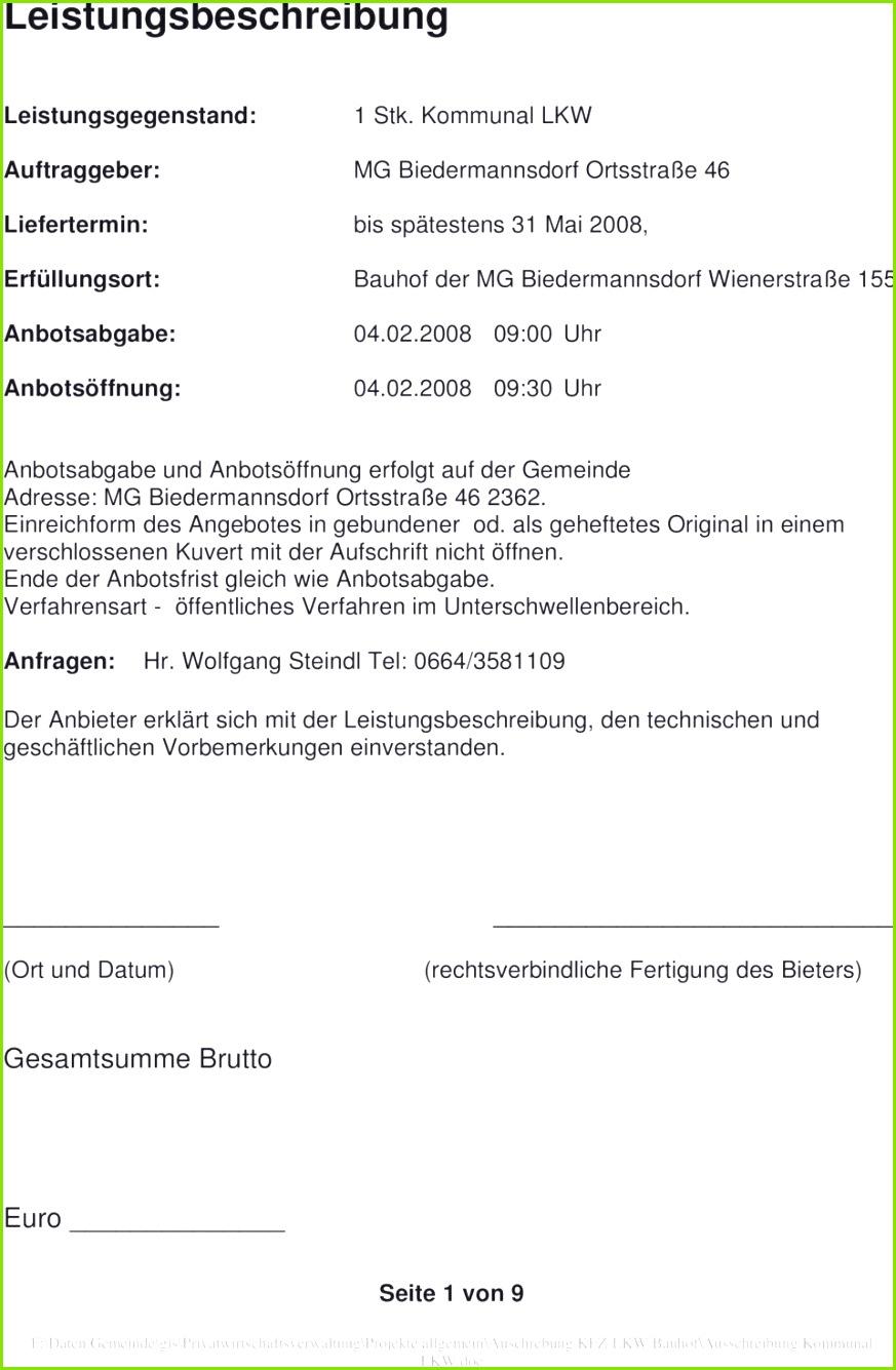 2008 09 00 Uhr 04 02 2008 09 30 Uhr Anbotsabgabe und Anbotsöffnung erfolgt Leistungsbeschreibung Muster – Leistungsverzeichnis Vorlage