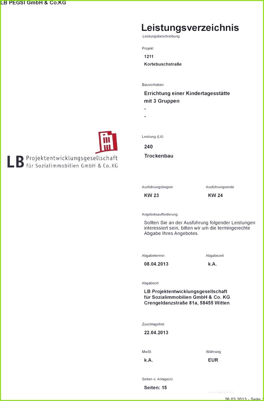 um termingerechte Abgabe Ihres Angebotes Abgabetermin Abgabezeit 08 04 2013 k a Abgabeort LB Projektentwicklungsgesellschaft Leistungsverzeichnis