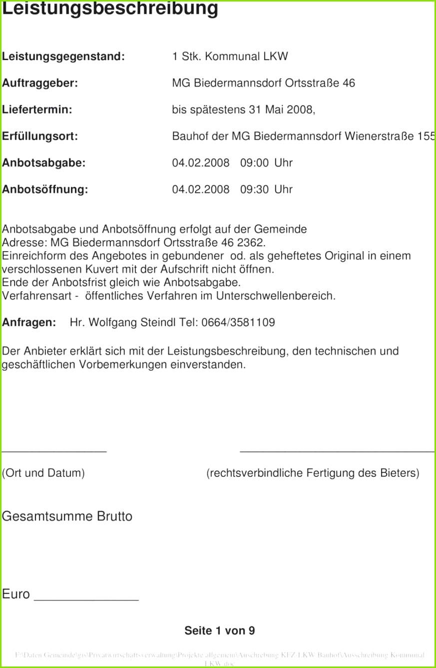 Werkvertrag Muster Frisch Leistungsverzeichnis Muster