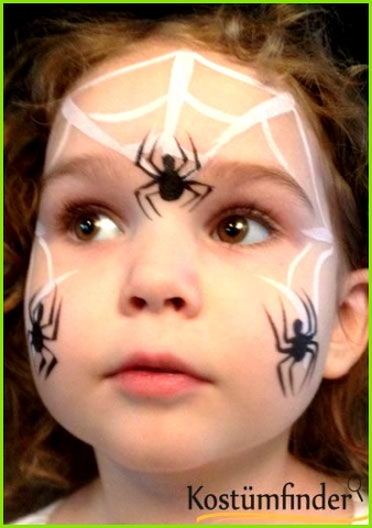 Spinnennetz schminken Schritt 4 Halloween Kids Makeup Easy Halloween Face Painting Facepaint Halloween