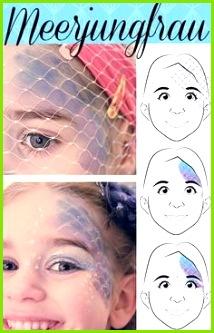 Karnevals Schmink Gesicht Meerjungfrau