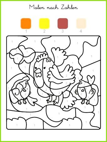 Kostenlose Malvorlage Malen nach Zahlen Hühner ausmalen zum Ausmalen