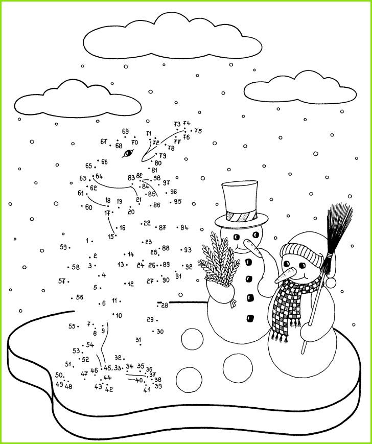 Ausmalbild Malen nach Zahlen Malen nach Zahlen Pinguin und Schneemänner kostenlos ausdrucken