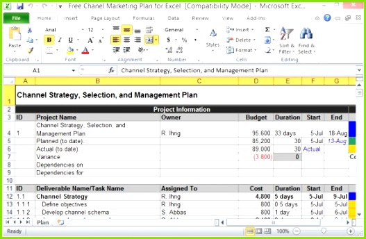 Free Channel Marketing Plan Template for Excel 580x379