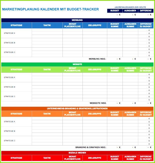9 IC Marketing Plan Calendar With Bud Tracker DE
