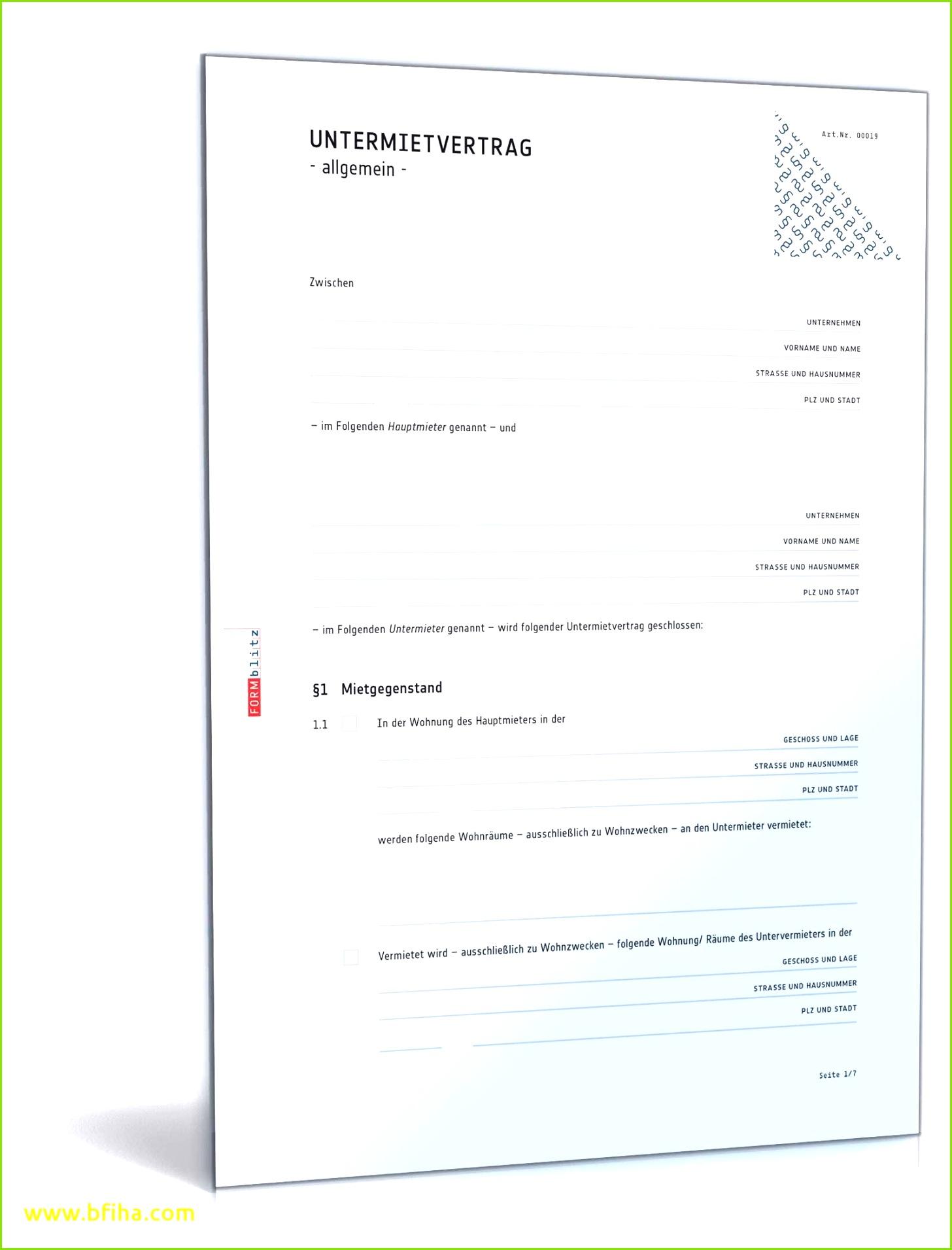 Untermietvertrag für eine Wohnung Muster zum Download