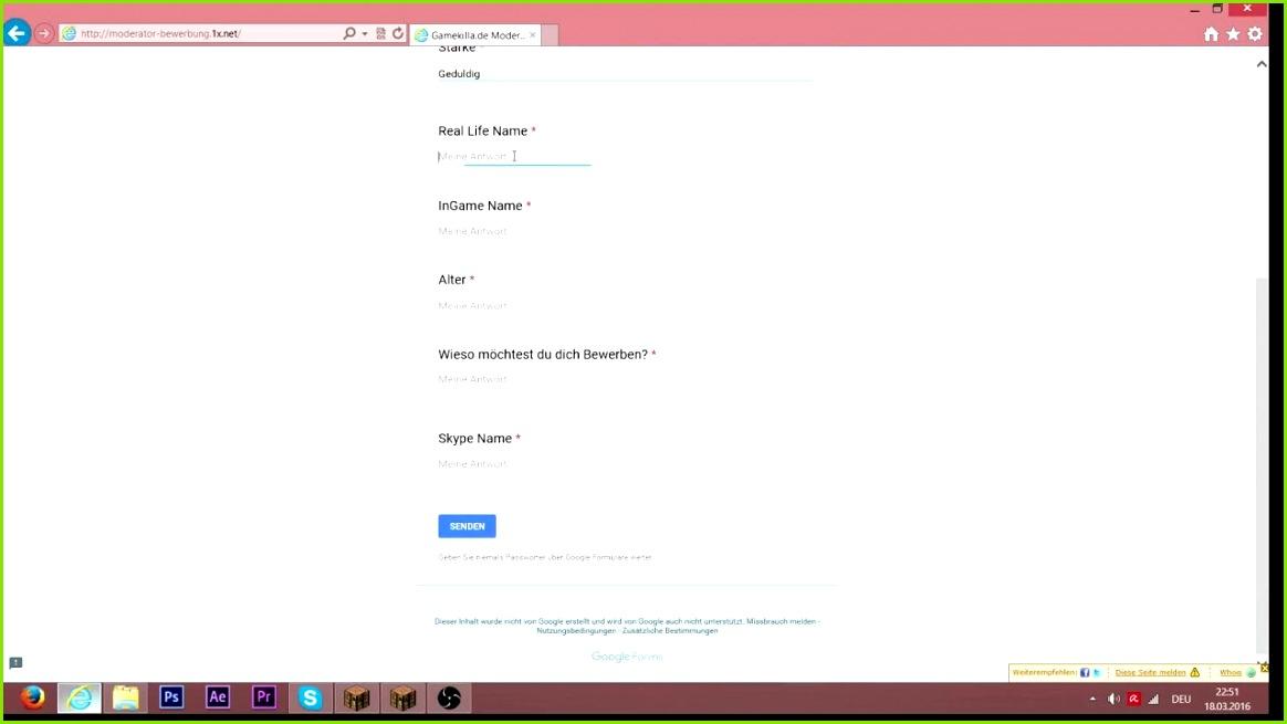 Minecraft Server Moderator Bewerbung