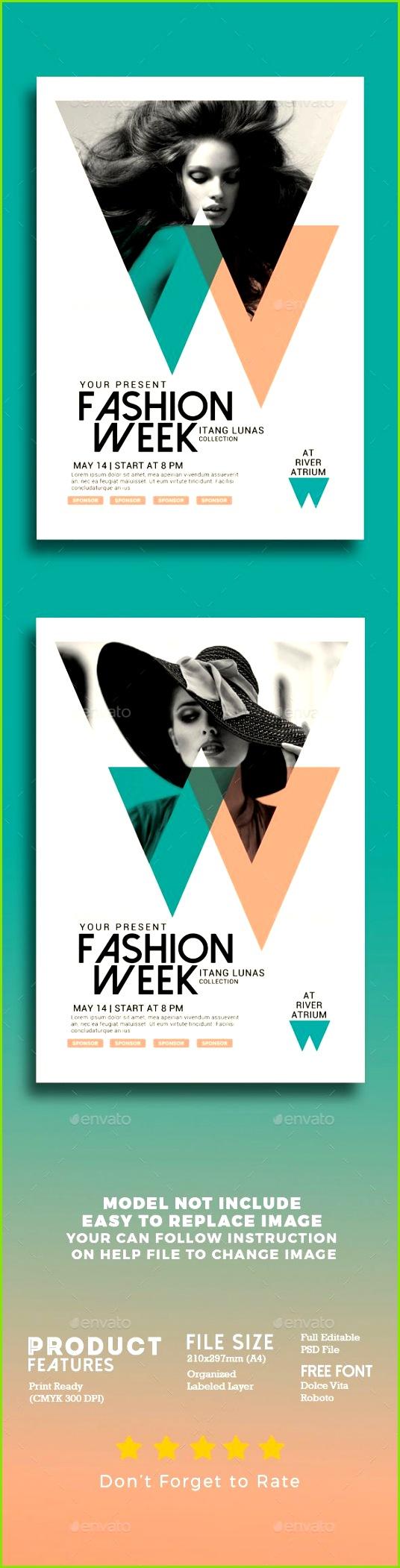 Fashion Week Flyer Template PSD Grafik Design Plakat Mode design vorlage