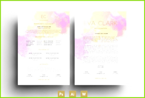 Eva Clark Creative Cv Design Creative Resume Templates Resume Design Template Fashion Cv