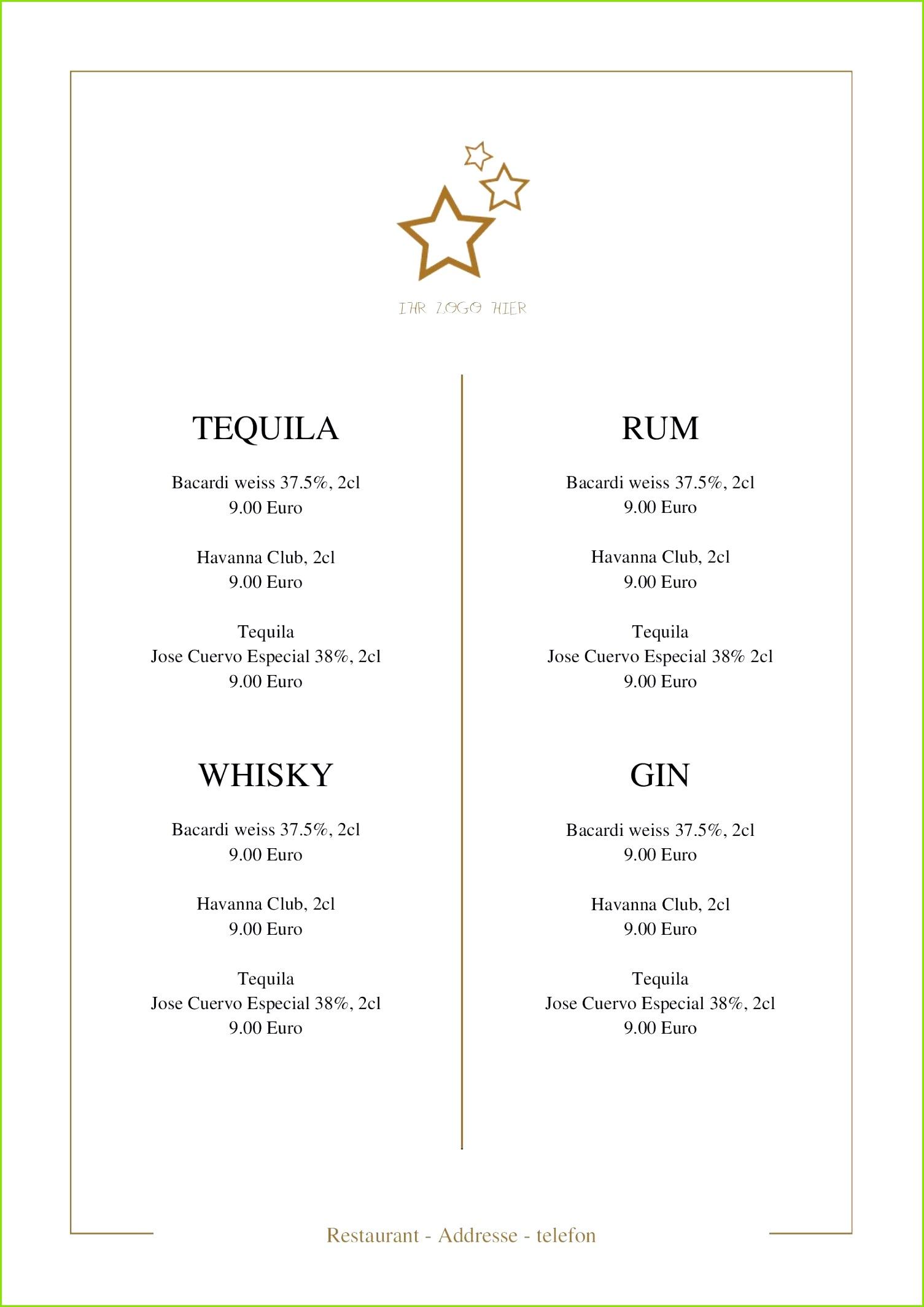 Tischkarten Muster Elegant Hier ist Vorlage Für Ihre Getränkekarte Der 365layouts Editor
