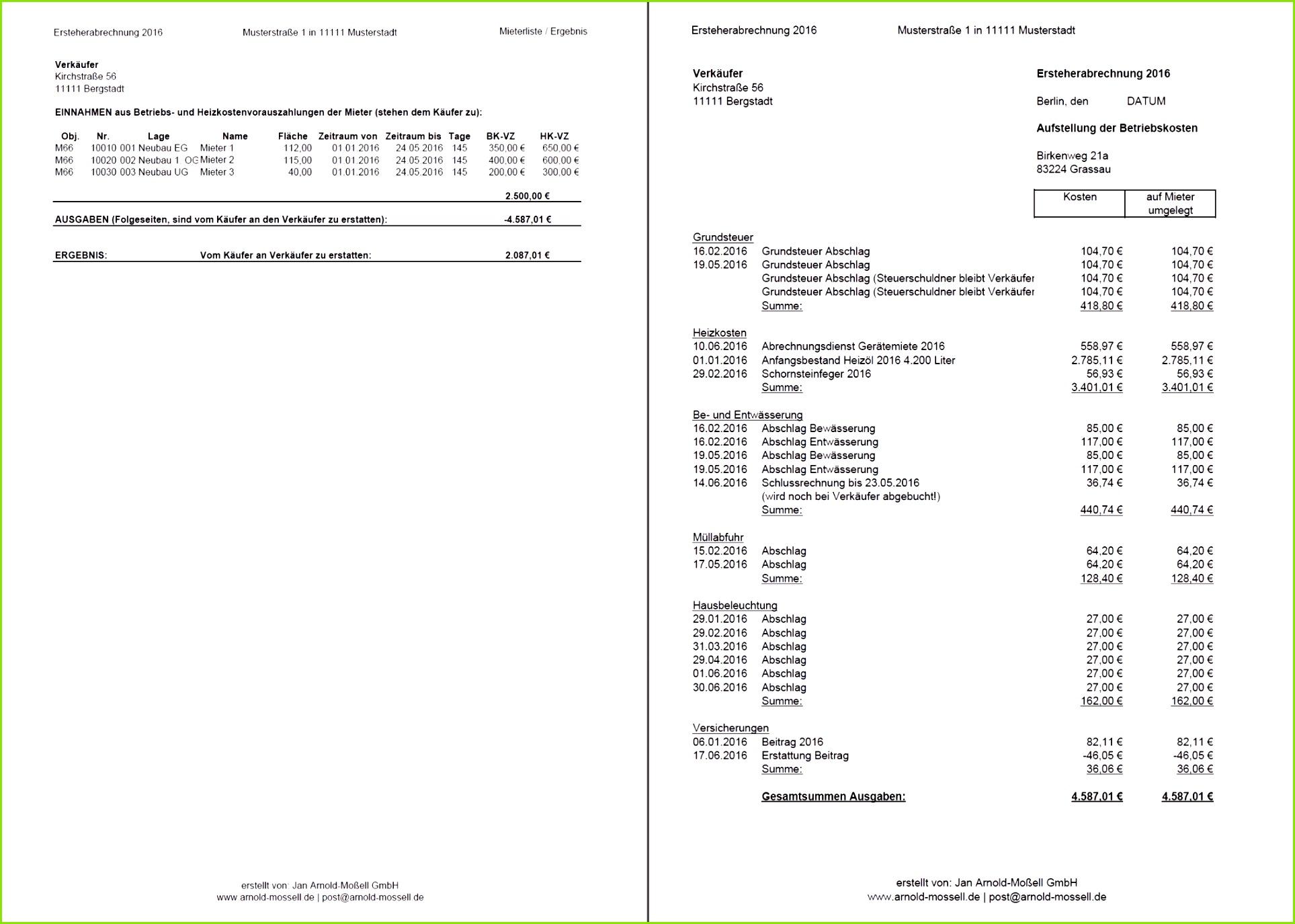 Nebenkostenabrechnung Für Mieter Erstellen Vorlage Wunderbar Vorlage Für Nebenkostenabrechnung