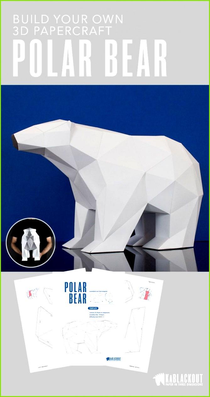 Polar Bear Template Low Poly 3D Papercraft Templates Build Your own Polar Bear