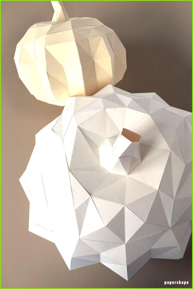Geometrischen Kürbis in 3d basteln aus Papier kostenlose Vorlage auf papershape kürbis