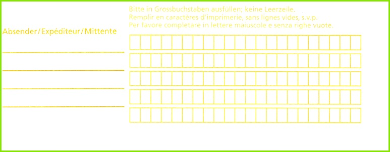 AdressEtikette der Post für Beschriftung von Paketen