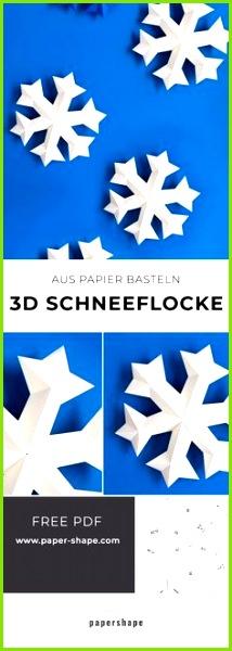 3D Schneeflocke aus Papier basteln kostenlose Vorlage
