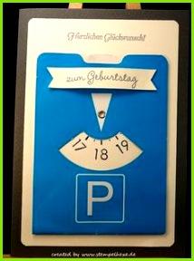 Karte Geburtstag 18 Parkscheibe stampin stemplehex Mehr Parkscheibe Selbstgemachte Geschenke Geschenke Verpacken Selbstgemachte