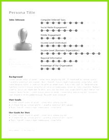 ux persona template succinct with a nicely lay out for showing key metrics If