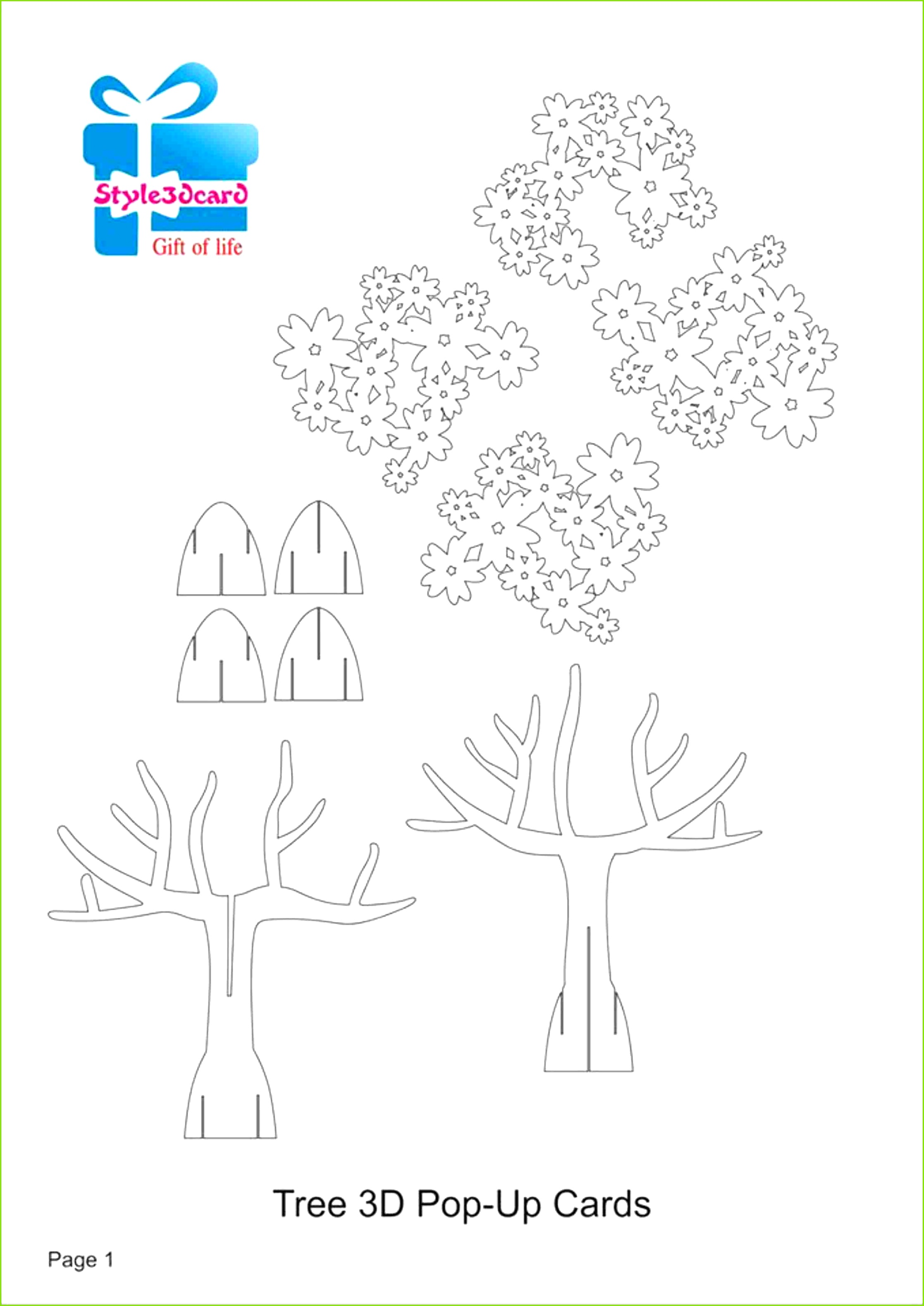 Tree 3D Pop UP Card Kirigami Pattern 1