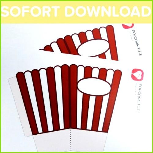 Popcorn Tüten als Sofort Download Eine Popcorn Tüte darf bei der Movie Night